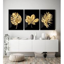 """""""Trio folhagens ouro-preto""""..."""