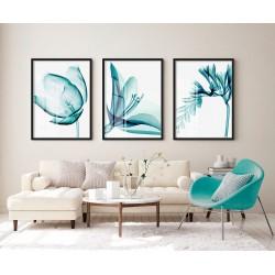"""Trio flores azul turquesa""..."