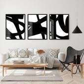 Trio abstrato preto e branco, moderno, elegante e lindo 🖤  O valor do conjunto vai depender do tamanho, nós temos várias opções e para conferir todas é só clicar no produto marcado na foto e abrir no site 🤍  #quadrosdecorativos #casa #decoração