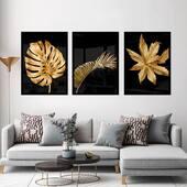 Trio folhas douradas 💛  O valor do conjunto vai depender do tamanho, nós temos várias opções e para conferir todas é só clicar no produto marcado na foto e abrir no site 🤍  #quadrosdecorativos #casa #decoração